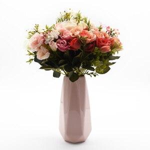 Image 2 - 13 kafaları ipek gül gelin buketi düğün noel ev dekorasyon için vazo süs saksı yapay çiçekler scrapbooking