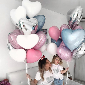 5pcs 18inch Colorful Heart Foil Balloons Love Helium Balloons Valentines Wedding Birthday Party Baby Shower Decor Supplies