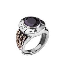 925 Sterling Silver Agate Ring Retro Open Rings for Women Men Gift Punk Cool Fashion Jewelry Bijoux s925 men s sterling silver rings personality retro classic punk style crusader flowers open ring send a gift to love