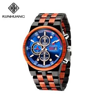 Image 3 - עץ גברים קוורץ שעון גברים של ספורט שעונים עסקים עץ זכר שעון Relogio Masculino יוקרה שעון Mens גדול הכרונוגרף שעון