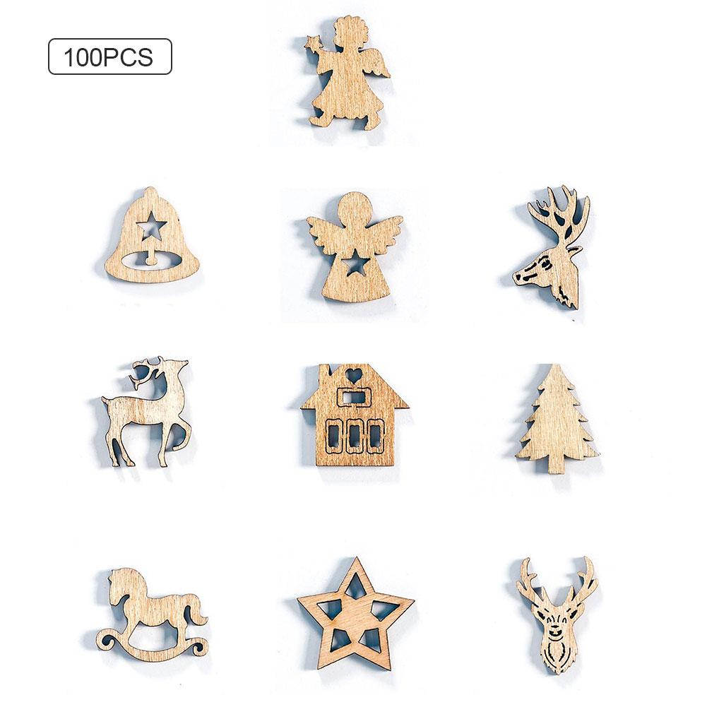 100PCS Christmas Decorations Creative Christmas Wooden DIY Gadgets 10 Patterns Holiday Party Decoration Supplies