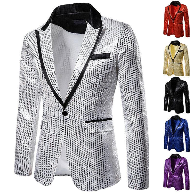 Stylish Men's Blazer Casual Slim Fitness Formal One Button Office Suit Blazer Coat Top Sequins Suit Jacket Masculino Blazers Men