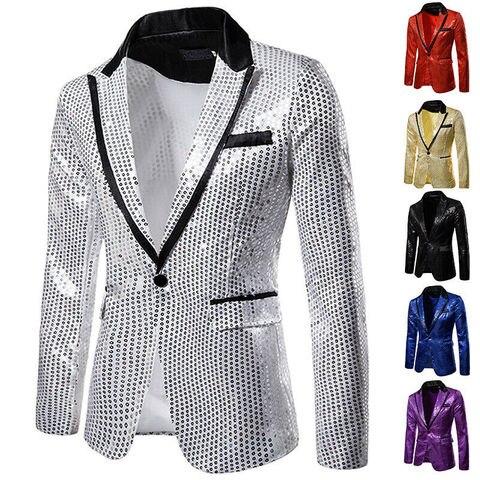 Ocasional de Fitness Homens Elegantes Blazer Magro Formal Escritório One Button Brasão Suit Top Lantejoulas Terno Masculino Jaqueta Blazers