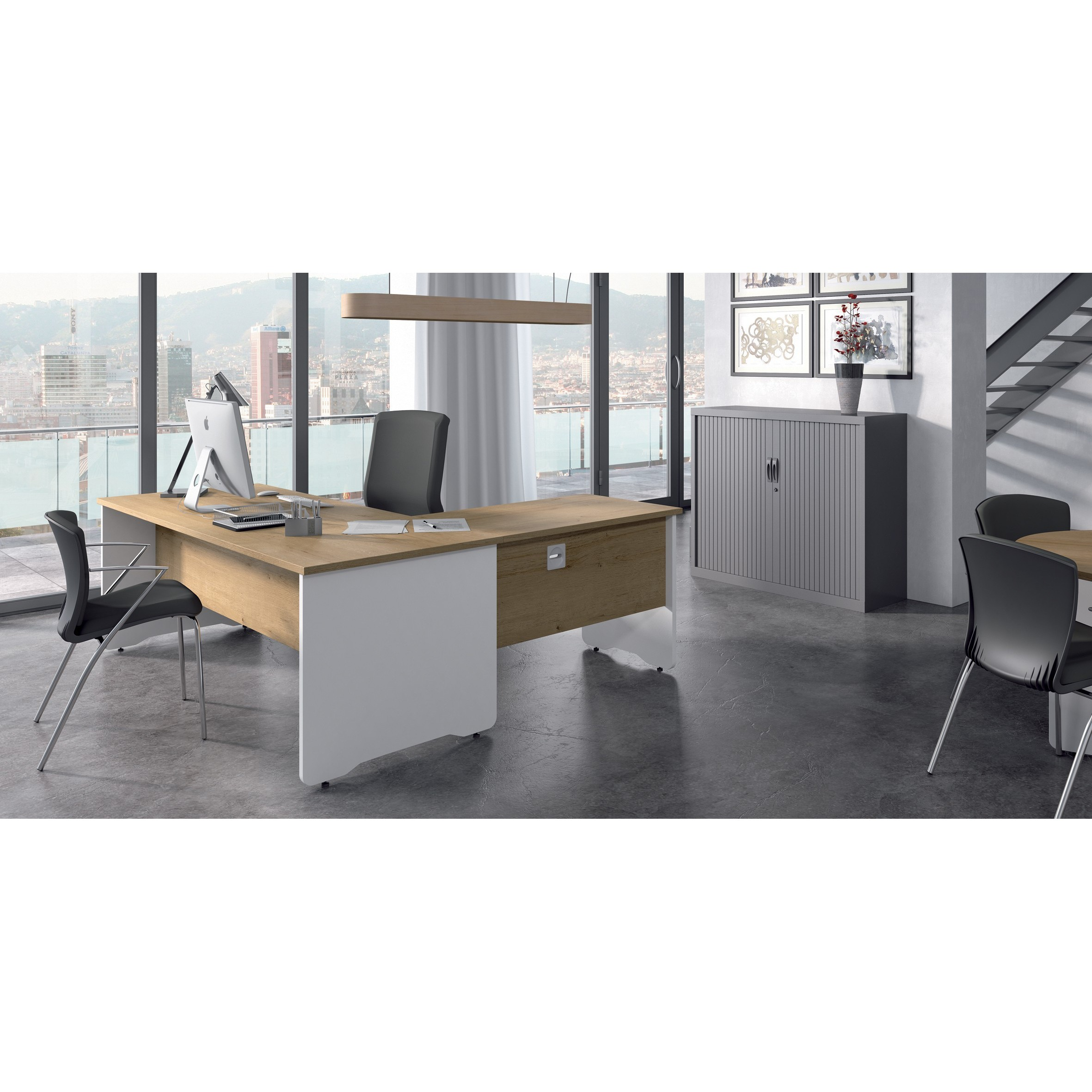 TABLE OFFICE 'S WORK WITH SHAPE SERIES L LEFT 160X120 WHITE/GREY