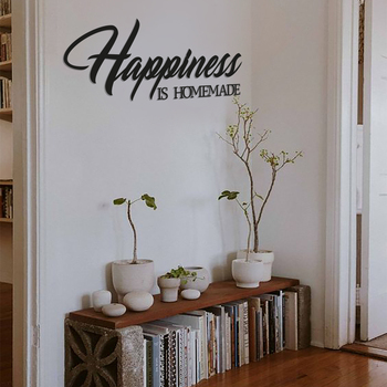 Metal Wall Decor and Art, Happiness Is Homemade, Interior Design Writings, Words Wall Decor, Metal Phrase happiness by design