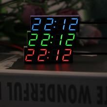 Voltmeter Timer Led-Display Electric-Clock Car Red-Light Led-Temperature Digital Blue