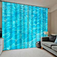 european curtains 3D customize Water ripple modern curtains for bedroom living room window curtains(China)