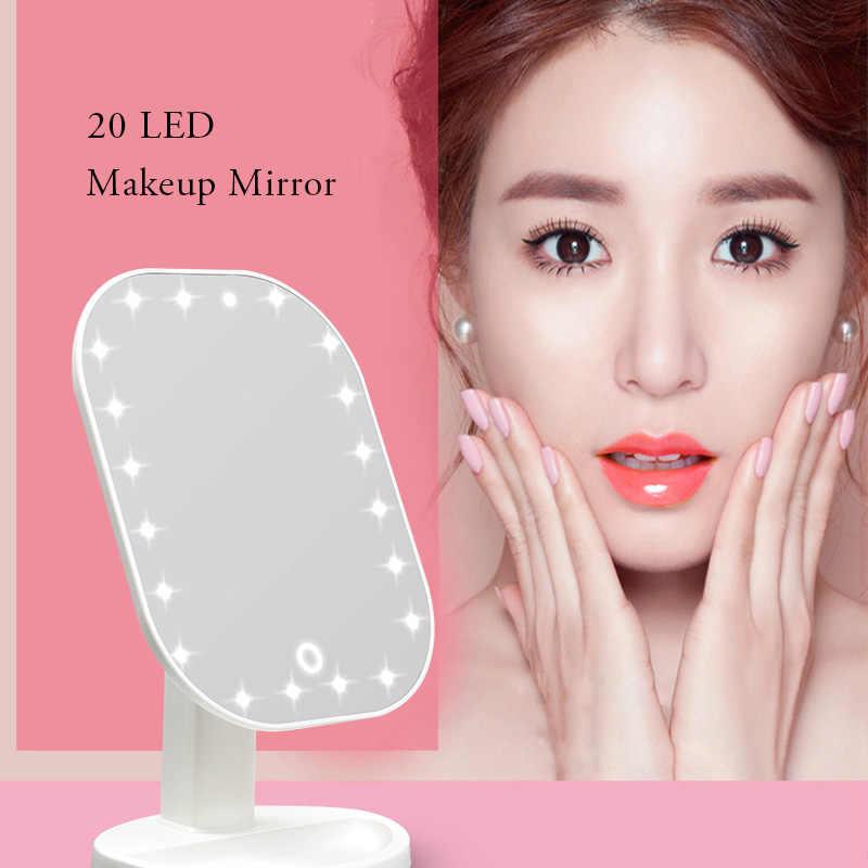 20 LED 조명 미러 터치 조광기 터치 스크린 메이크업 거울 럭셔리 미러 180 학위 조절 테이블 메이크업 거울