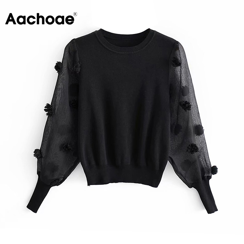 Aachoae Chic Black Pullover Women Mesh Patchwork Sweater 2020 Transparent Long Sleeve Knitted Jumper Female Casual O Neck Top