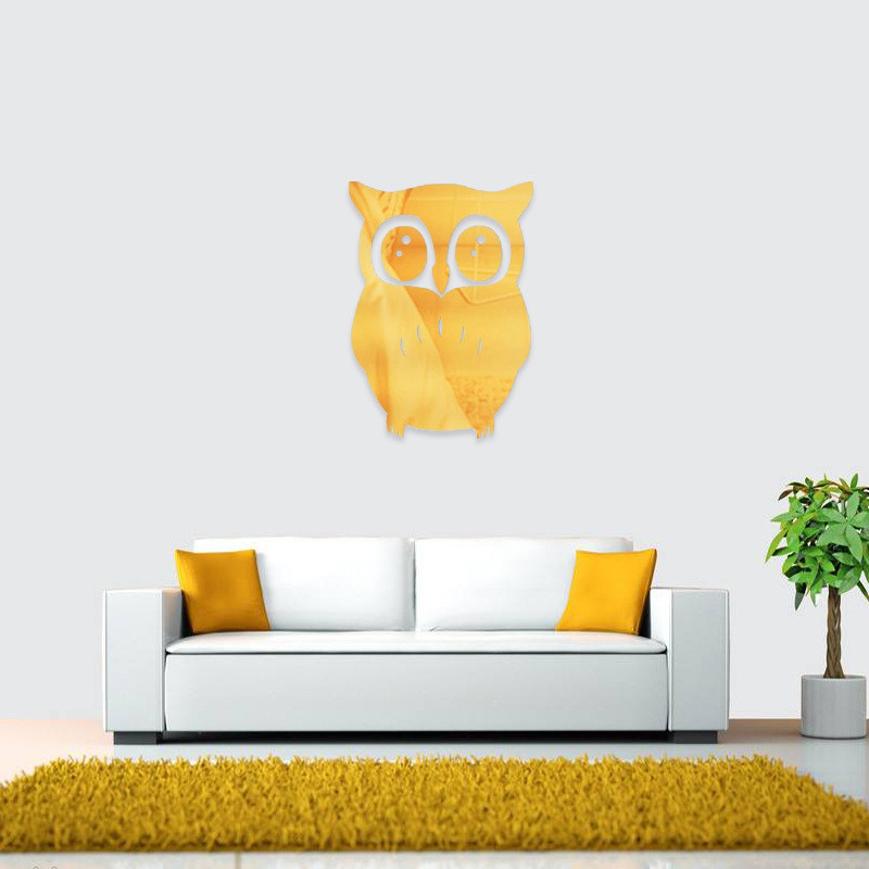 TTLIFE Friendly Mirror Sticker Owl Background Stereo Wall Sticker Home Decoration DIY Wall Decals Plane Acrylic Crystal Stickers in Decorative Films from Home Garden