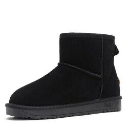 Zuzi couro genuíno ugs botas masculinas austrália tornozelo botas de neve à prova dwaterproof água quente curto estilo masculino sapatos de inverno 39-44