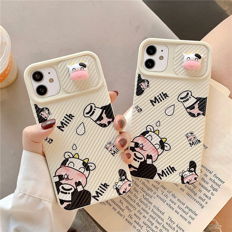 3D Cartoon Super Cute Animal Cow Lens Protection Soft Phone Case For Iphone 12 Pro Max 11 Pro Max 7 8 Plus X XS Max XR Cover