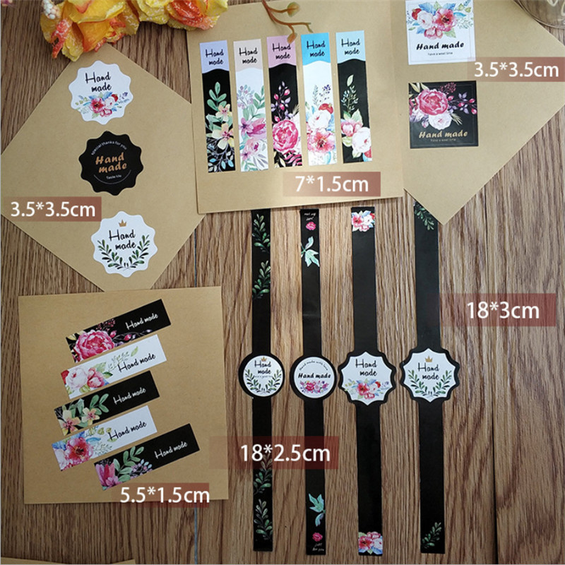 50pcs/pack New Popular Strips Justforyou Thankyou Sealing Stickers And Hand Made Six Design Scrapbooking Paper Labels