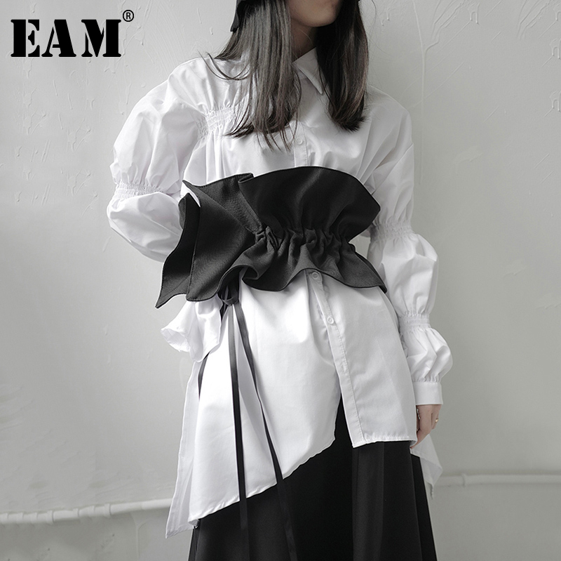 [EAM]  Black Ruffles Drawstring Temperament Wide Long Belt Personality Women New Fashion Tide All-match Spring 2020 1S216