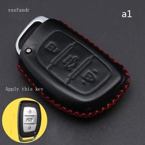 Image 3 - Car Key Case Cover Remote For Hyundai IX25 IX35 I20 I30 I40 hb20 Santa Fe Creta Solaris 2017 Genuine Leather 3 Buttons Key Shell