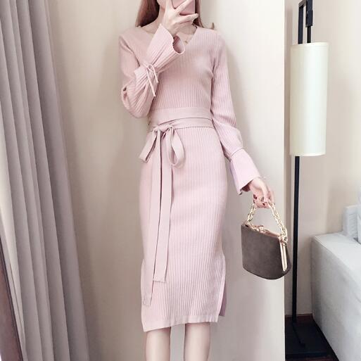 Autumn Winter Women Sweater Dress 2019 New Long-sleeved vestidos largos Pink pullover Medium long Knitted Women Dress DC489 33