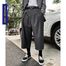 UNCLEDONJM 2020 Men's Summer Trousers Calf-Length Pants Loose fit Waist Straight Breathable Solid Casual Trousers For YYS-XK001