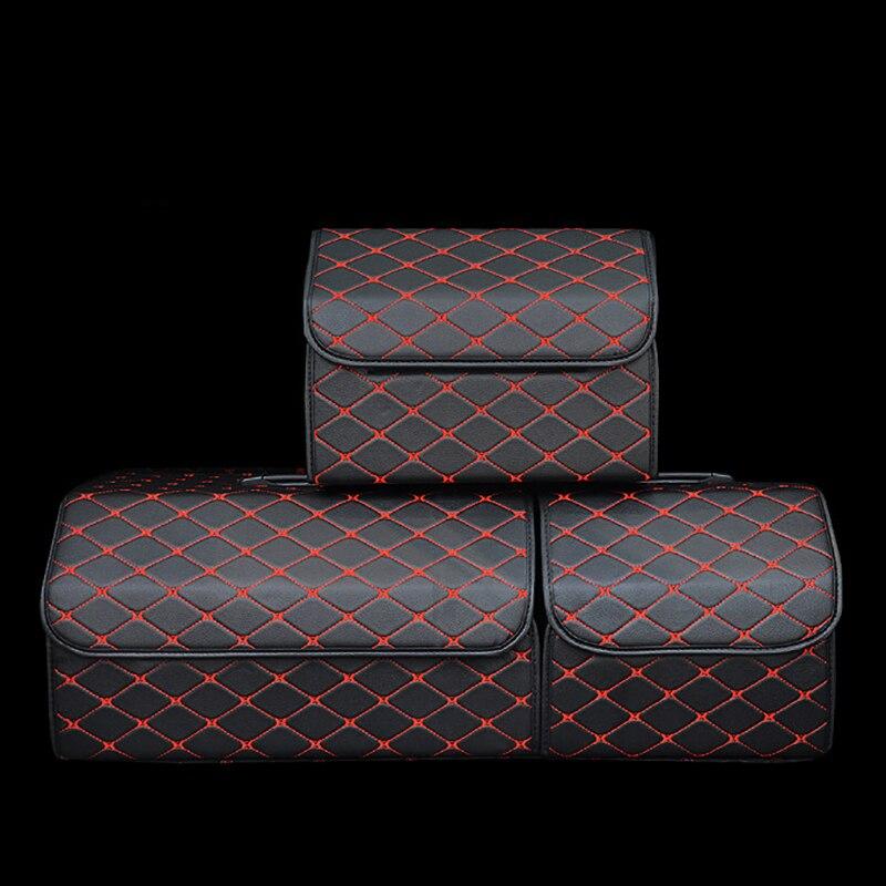 Faltbare Auto Stamm Lagerung Tasche Organizer mit Deckel Tragbare Auto Lagerung Verstauen Aufräumen PU Leder Auto Stamm Box Organizer