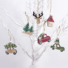 Ornements d'arbre de noël en bois 2020 | Pendentif en bois pour voiture/Elk/étoile, artisanat bricolage, décorations de noël pour la maison, cadeau de noël pour enfants