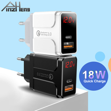 PINZHENG Quick Charge USB Charger QC 3.0 PD Fast Charging LED Display Phone Charger For iPhone Samsung Xiaomi Type C Adapter ugreen 36w fast usb charger quick charge 4 0 3 0 type c pd fast charging for iphone 11 usb charger with qc 4 0 3 0 phone charger