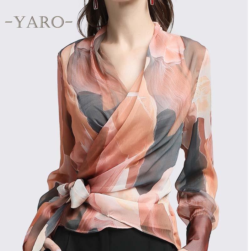 Free shipped 2019 new style Fashion Print chiffon shirt blouse V Neck Bow top women Temperament commute