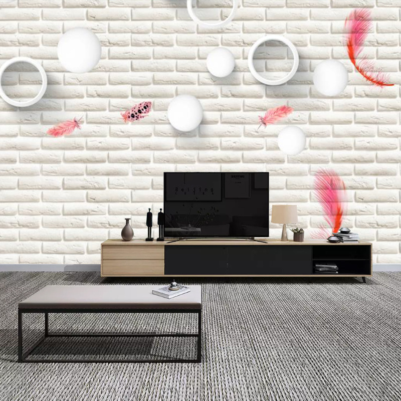 3D Hand-Painted Northern European-Style Color Feather TV Backdrop Wallpaper Simple Living Room Sofa Bedside Wallpaper Mural