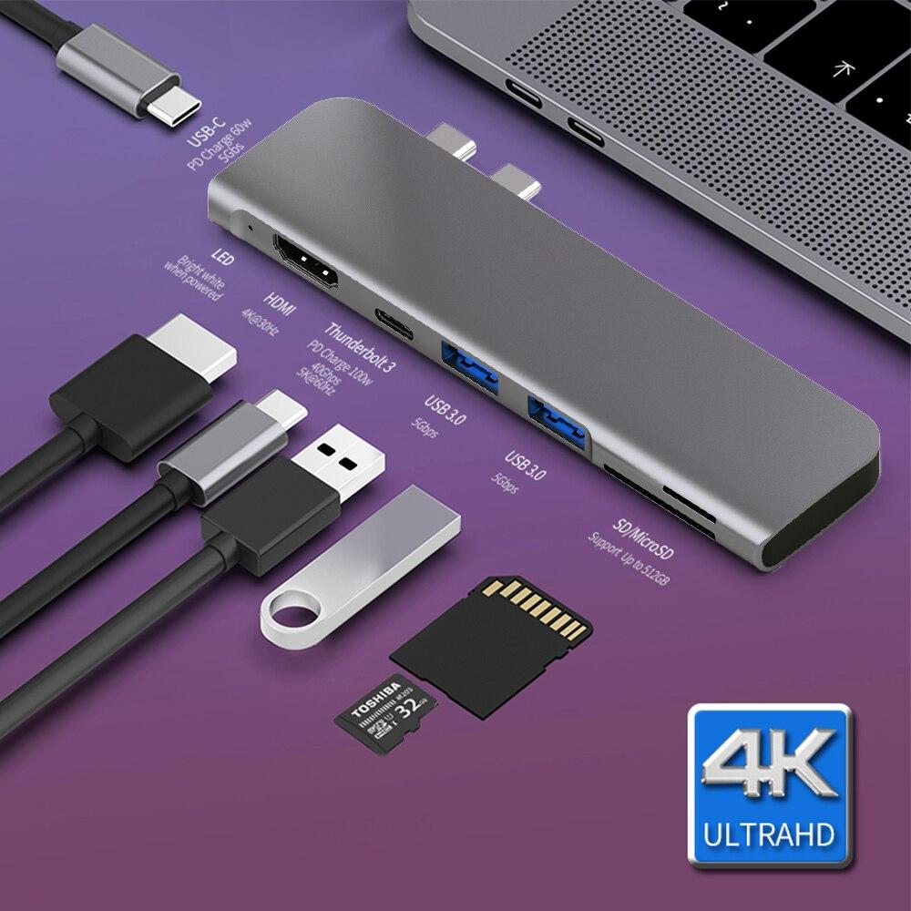 USB 3.1 type-c Hub vers HDMI adaptateur 4K Thunderbolt 3 USB C Hub avec Hub 3.0 TF SD lecteur Slot PD pour MacBook Pro/Air 2018 - 2020