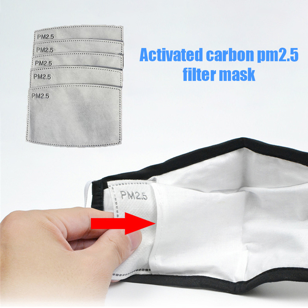 2pcs 5 Layers PM2.5 Activated Carbon Filters Dustproof Mouth Mask Face Care