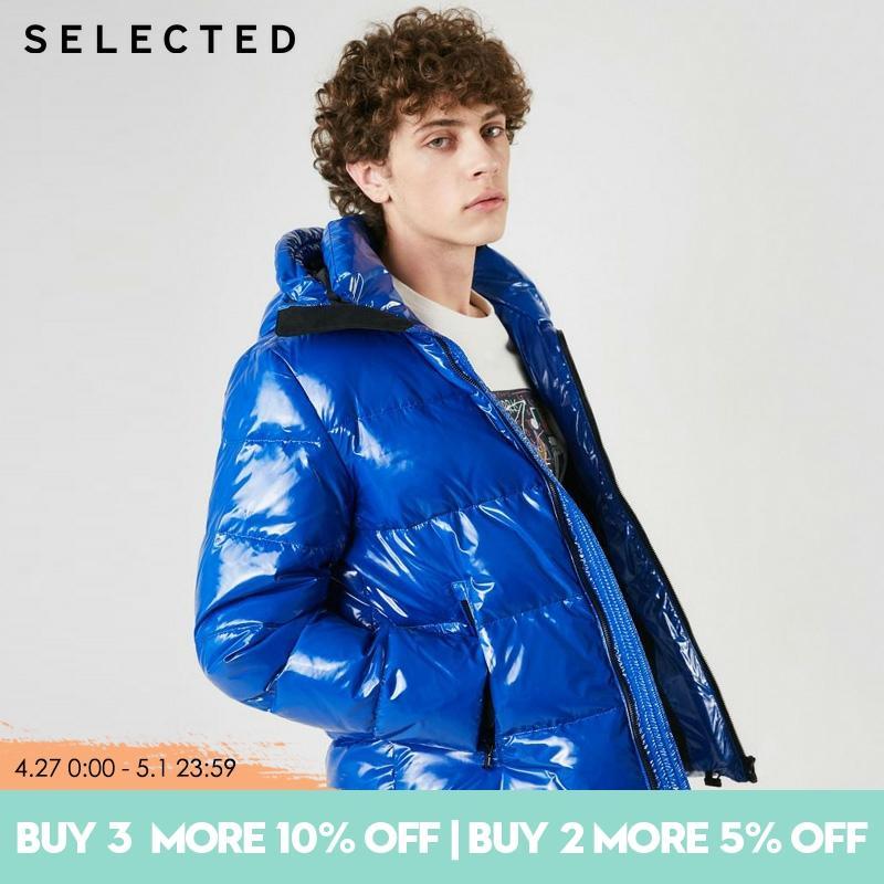SELECTED Glossy hooded mens Short duck  down jacket coat| 419112507