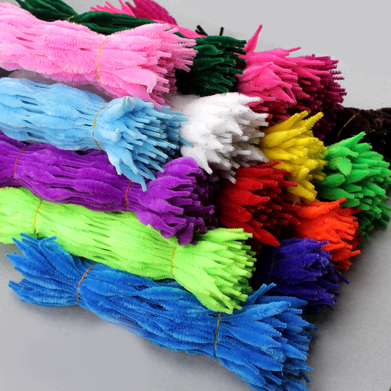 Colorful Wavy Hair Root Pipe Cleaner Chenille Stems For Children/kids DIY Handmade Material 100pcs/lot