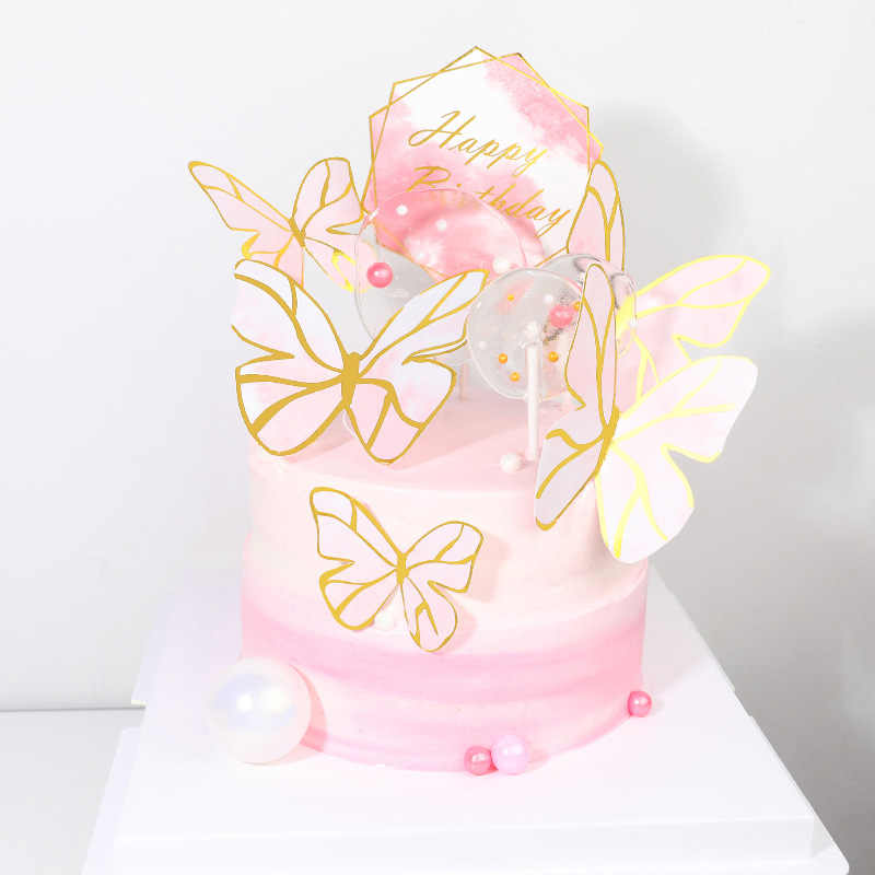 Fine Butterfly Wedding Cake Topper Cute Gold Foil Happy Birthday Funny Birthday Cards Online Overcheapnameinfo