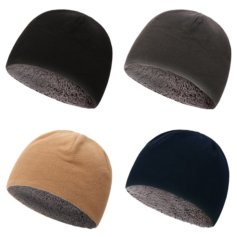 Unisex Fleece Beanies Caps Winter Warm Velvet Thick Windproof  Winter Outdoor Hat Skullies