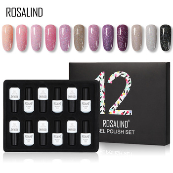 12PCS/LOT ROSALIND 7ml Glitter Neon Gel Nail Polish Set All For Manicure Semi Permanent Hybrid Varnishes Soak Off UV Gel Kit 1