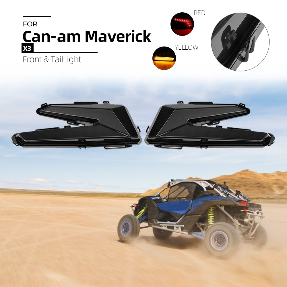 KEMIMOTO Black Rear Tail Lights Tail Lamps With Yellow Turning Light For Can Am Maverick X3 XDS XRS Max Turbo R 2017 2018 2019