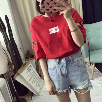 Summer Women Cotton T-Shirts Harajuku BF Style Loose Letters Printed Tshirt Ribbon Decorate Casual G
