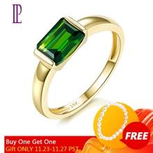 LP רוסית אמרלד Diopside כרום 1.05cts אירוסין בנד טבעת עבור נשים אמיתי 9K 10K 14K 18K זהב תכשיטים