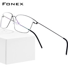 FONEX liga de titânio óculos quadro masculino prescrição óculos novas mulheres miopia óptica coreano morten screwless eyewear 98624