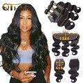 QT пучки волнистых волос с закрытыми волосами  3 пучка волнистых волос с фронтальной связью  пучки волос Remy для наращивания
