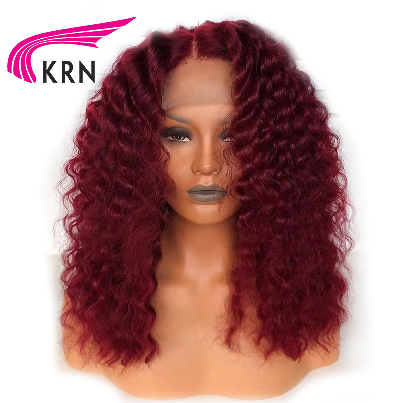 KRN 99J Burgundy Red Short Human Hair Wigs Pre Plucked Curly Blonde Lace Front  Wig 13X6 Lace Front Brazilain Remy Wig
