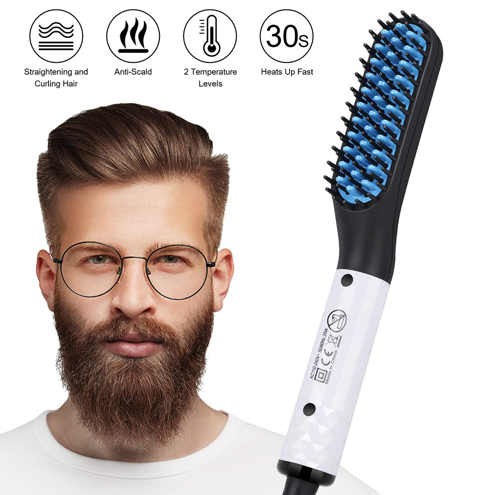 Upgrade Multifunctional Hair Comb Quick Beard Straightener Curling Curler Show Cap Men Beauty Hair Styling Tool