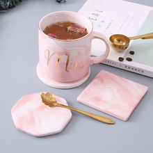 1pcs Marble Ceramic Pink Coaster Drink Coffee Tea Cup Mat Heat-insulated Dinner Bottle Coasters Table Decoration Accessories nordic style lovely pink gold marble pattern coaster ceramic drink coasters cup mat marble decor