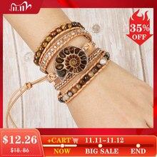 CSJA Boho Leder Fossilien Wrap Armband Natürliche Stein Armbänder für Frauen Tiger Auge Perle Multilayer Wickelarmband S475