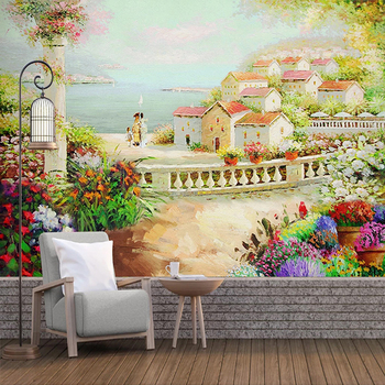 Custom Photo Garden House Pastoral Landscape Oil Painting Wall Mural Wallpaper For Bedroom Walls Study Living Room Background 3D