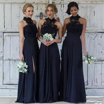 2021 Cheap Navy Blue Bridesmaid Dresses Long Chiffon Halter Split Side Lace Formal Party Dresses Modest Maid Of Honor Gowns