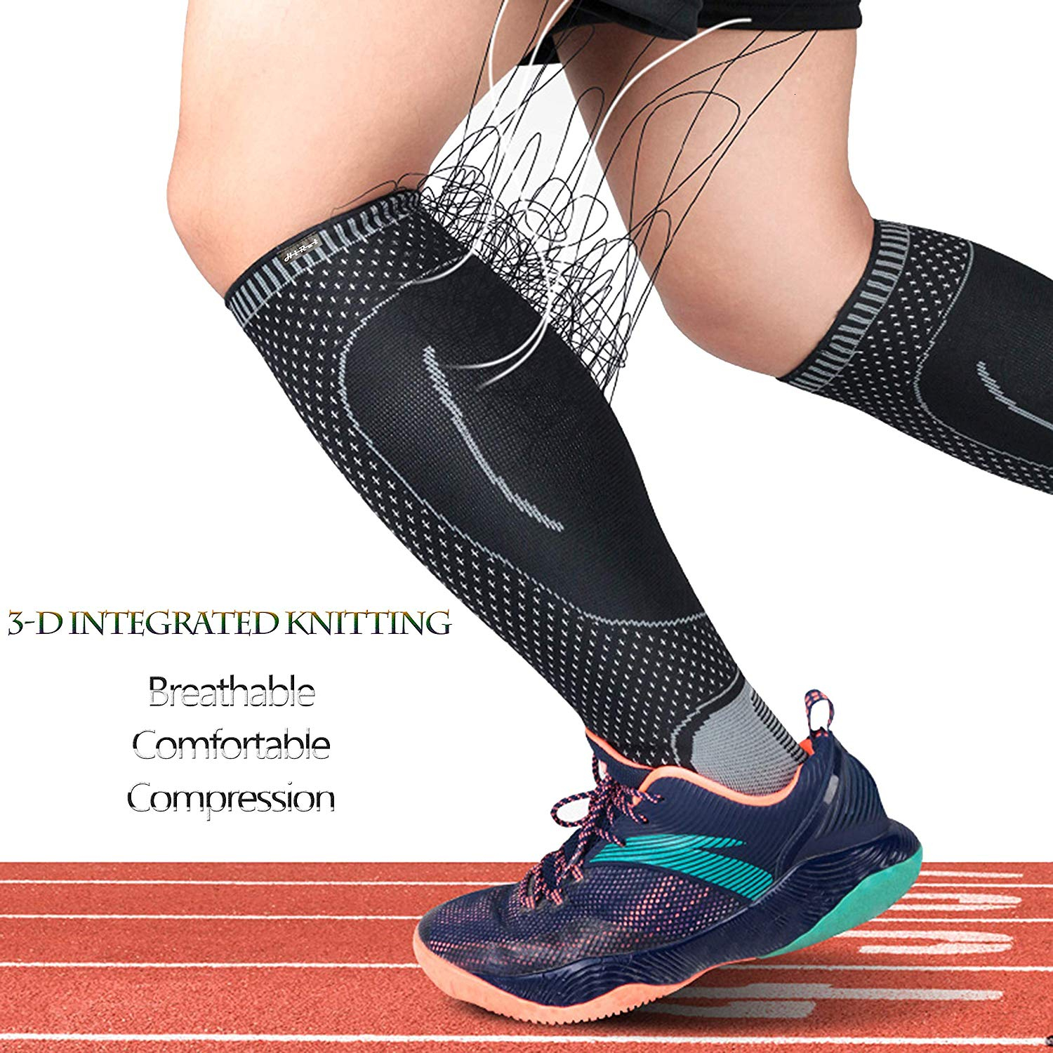 1 Pair Ankle Calf Compression Sleeve Socks Leg Guard Warmer Stocking Protector for Football Soccer Basketball