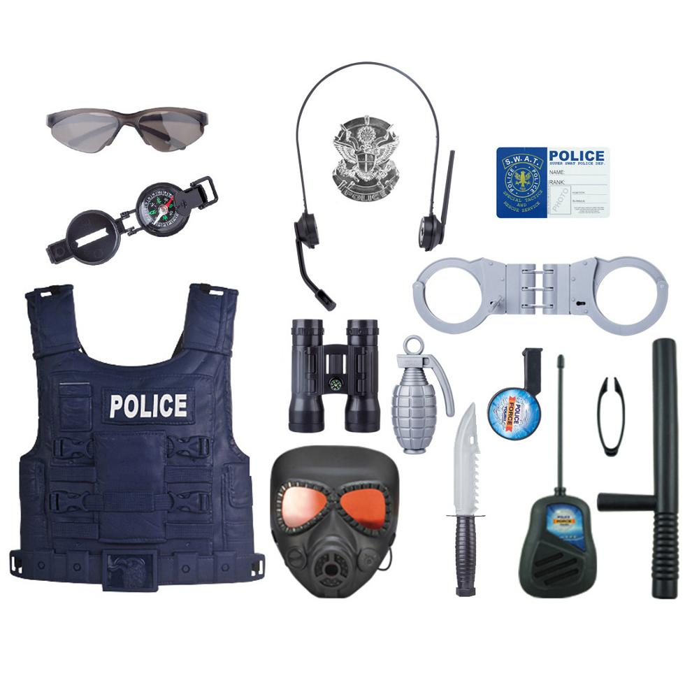 18Pcs Set Children Pretend Play Police Officer Toy Props Police Role Play Kit Cop Toy Set For Fancy Dress Children Role Playing