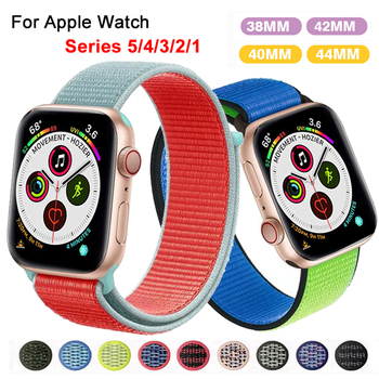 цена на Band For Apple Watch Series 3/2/1 38MM 42MM Nylon Soft Breathable Replacement Strap Sport Loop for iWatch Series 4 5 40MM 44MM