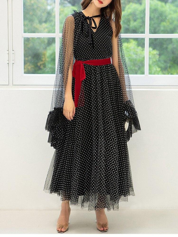2019 Sexy célébrité robe de soirée femmes Vintage à pois robe cape manches noir maille robe