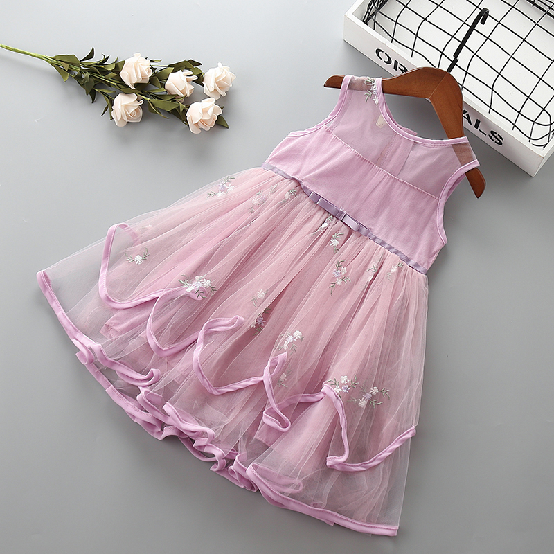 0 6 years High quality girl dress new summer lace mesh solid kid children girl clothing party formal princess dress 40 in Dresses from Mother Kids
