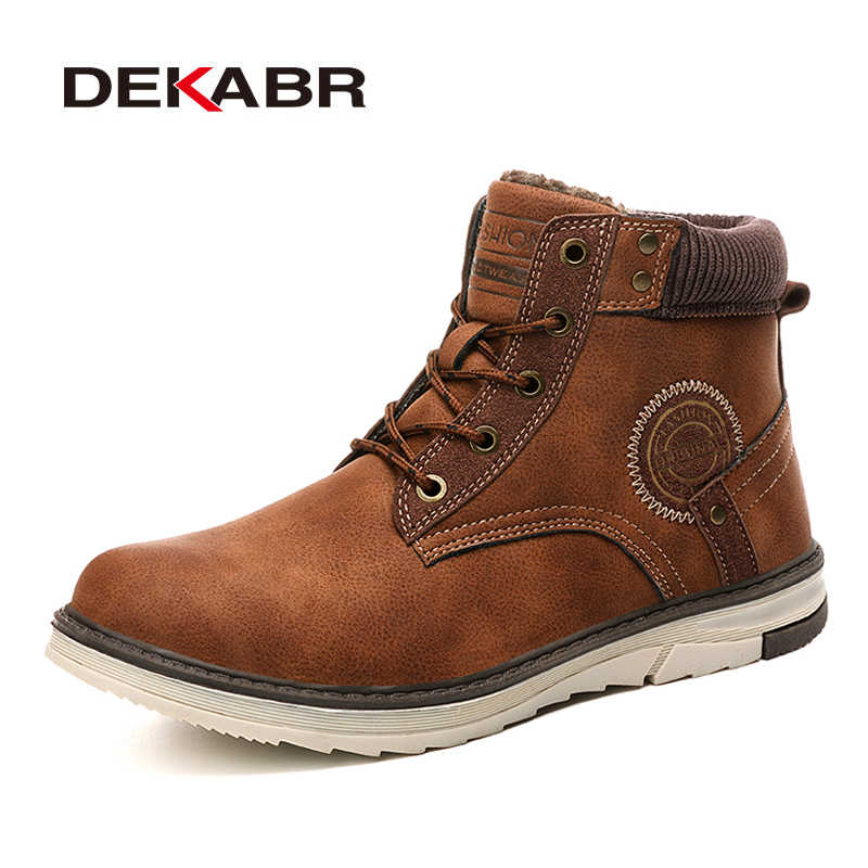 DEKABR Brand Cow Suede Snow Boots Winter Anti-skid Warm High Quality Working Boots Male Waterproof Ankle Boots For Men